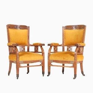 Antike Jugendstil Armlehnstühle aus Eiche von HF Jansen & Zonen Hoöververancier, 2er Set