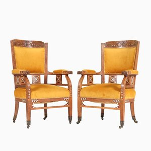 Antique Art Nouveau Oak Armchairs from H.F. Jansen & Zonen Hofleverancier, Set of 2