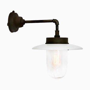 Industrielle Emaillierte Mid-Century Tischlampe aus Gusseisen und Klarglas