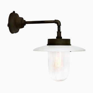 Mid-Century Industrial White Enamel Cast Iron and Clear Glass Sconce