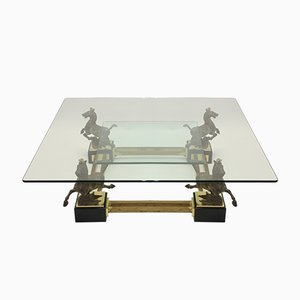 Mid-Century Bronze & Glass Coffee Table by Maison Charles