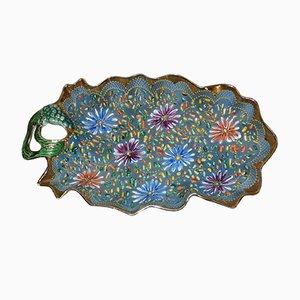 Scodella Mid-Century in porcellana con fiori di H. Bequet Quaregnon