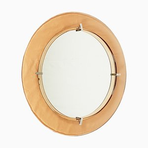 Round Salmonn Glass Wall Mirror from Cristal Art, 1960s