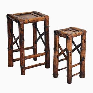 Mesas auxiliares vintage de bambú, años 20. Juego de 2