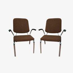 Niederländische Rundstahl Armlehnstühle von W.H. Gispen für Kembo, 2er Set