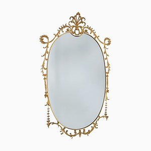 Large Baroque Style Brass Wall Mirror, 1960s