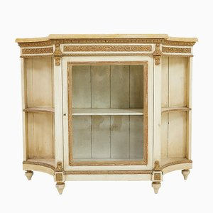 Vintage French Regency Style Painted, Gilded & Marble Cabinets, Set of 2