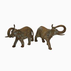 Große Mid-Century Elefanten aus Bronze, 2er Set
