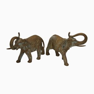 Large Mid-Century Bronze Elephants, Set of 2