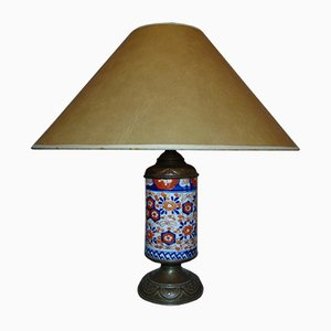 Mid-Century Art Deco Porcelain & Brass Table Lamp