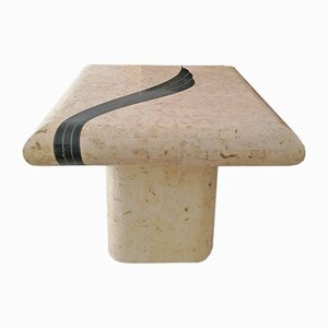American Travertine, Marble & Brass Coffee Table from Casa Bique, 1970s
