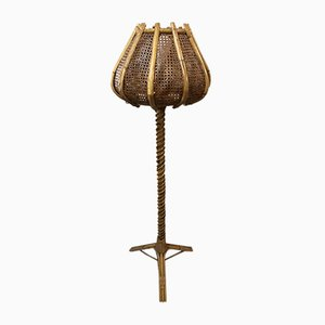 Rattan Tulip Floor Lamp, 1960s