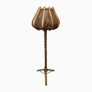 Rattan Tulip Stehlampe, 1960er
