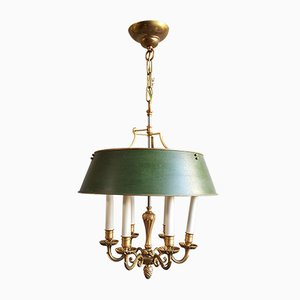 Bronze and Lacquered Metal Ceiling Lamp, 1980s