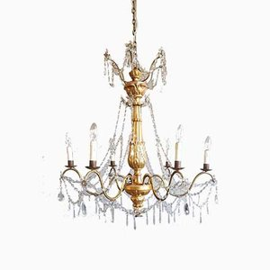Gilded Wood & Crystal Chandelier, 1972