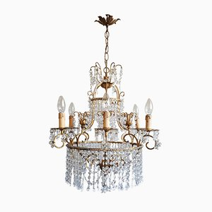 Gilt Iron and Crystal Ceiling Lamp, 1970s