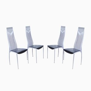 Vintage Aluminum and Black Leather Dining Chairs, 1990s, Set of 4