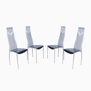 Vintage Esszimmerstühle aus Aluminium & schwarzem Leder, 1990er, 4er Set