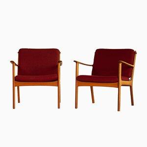 PJ112 Armlehnstühle von Ole Wanscher für Poul Jeppesens Møbelfabrik, 1951, 2er Set