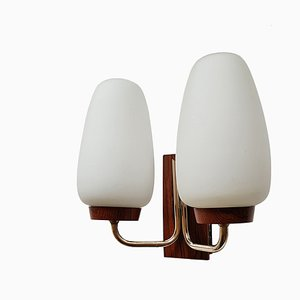 Mid-Century Rosewood and Opaline Glass Sconce