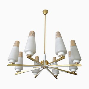 Large Mid-Century Italian Brass and White Enameled Chandelier, 1950s
