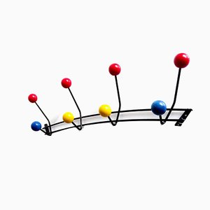 Mid-Century French Black, Blue, Red, and Yellow Coat Rack, 1950s