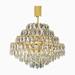 Large Mid-Century Gilded Brass and Crystal Chandelier from Bakalowits & Söhne, 1960s