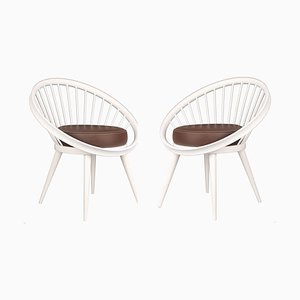 Danish Modern Elliptic Lounge Chairs by Yngve Ekström, 1960s, Set of 2