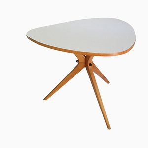 Danish Modern Birch Tripod Architectonic Side Table from Wilhelm Renz, 1950s