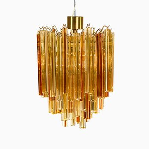 Murano & Amber Glass Chandelier by Paolo Venini, 1960s