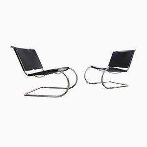 Schwarze Mid-Century Modell MR 30/5 Sessel aus Leder von Ludwig Mies van der Rohe für Knoll Inc. / Knoll International, 2er Set