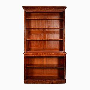 Large Antique Burr Walnut Open Bookcase
