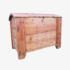 Large Antique Pine Wood Storage Trunk