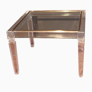 Vintage Italian Plexiglass & Glass Coffee Table from Fabian Art