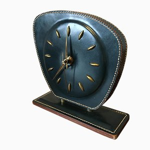 Mid-Century Stitched Leather Table or Desk Clock by Jacques Adnet