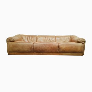 Vintage Cognac Brown Buffalo Leather 3-Seater Sofa, 1970s