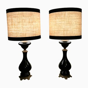 Antique French Opal Glass & Brass Table Lamps, Set of 2, 1880s