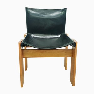 Black Leather Monk Chairs by Tobia & Afra Scarpa for Molteni, 1970s, Set of 4