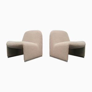 Taupe Boucle Fabric Lounge Chairs by Giancarlo Piretti for Castelli / Anonima Castelli, 1970s, Set of 2
