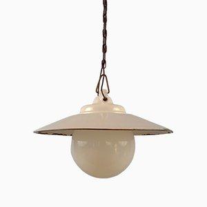 Lámpara colgante Mid-Century con globo de vidrio