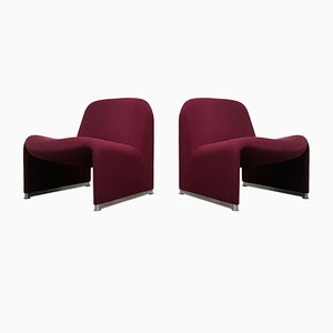 Red Wool Alky Chairs by Giancarlo Piretti for Castelli / Anonima Castelli, 1970s, Set of 2