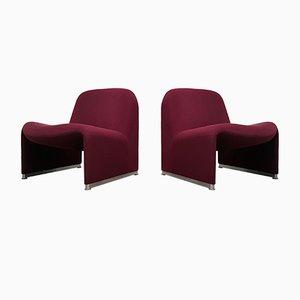 Rote Alky Stühle aus Wolle von Giancarlo Piretti für Castelli / Anonima Castelli, 1970er, 2er Set