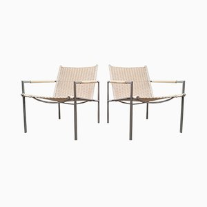 Creme White Wicker and Brushed Steel Model SZ01 Lounge Chairs by Martin Visser for t Spectrum, 1960s, Set of 2