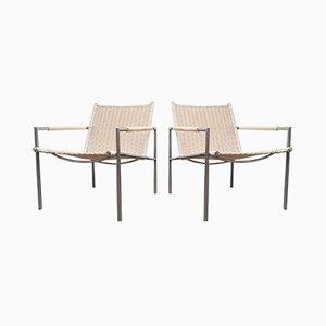 Weiße Sessel aus Korbgeflecht & Gebürstetem Stahl Modell SZ01 von Martin Visser für t Spectrum, 1960er, 2er Set
