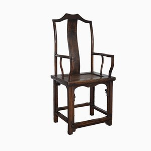 19th Century Chinese Elm and Rattan Armchair