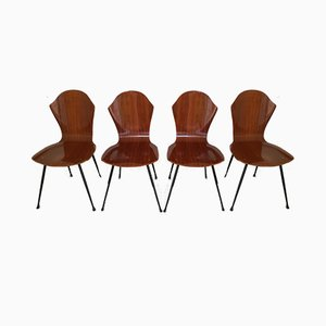 Mid-Century Curved Plywood Dining Chairs by Carlo Ratti, Set of 4