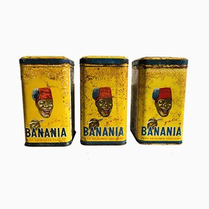 French Cans from Banania, 1930s, Set of 3