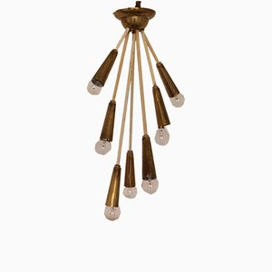 Mid-Century Brass 7-Light Ceiling Lamp