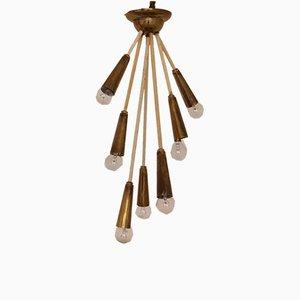 Mid-Century Brass 7-Light Ceiling Lamp