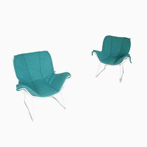 Mid-Century Iron Lounge Chairs, Set of 2